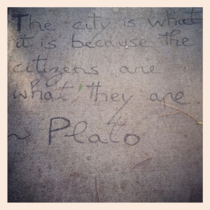 ...as seen on the sidewalks of Dolores St, SF